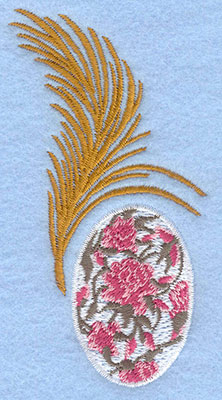 Embroidery Design: Small rose egg with small feather2.27w X 4.08h