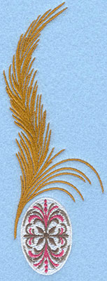 Embroidery Design: Large feather with small pattern egg2.59w X 6.98h