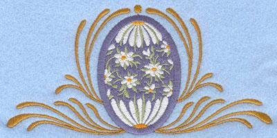 Embroidery Design: Medium applique daisy egg with swirls6.12w X 2.99h