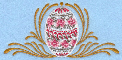 Embroidery Design: Small daisy rose egg with swirls4.47w X 2.19h