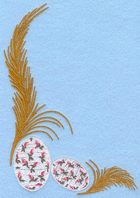 Embroidery Design: Two feathers with rose bud eggs4.93w X 7.00h