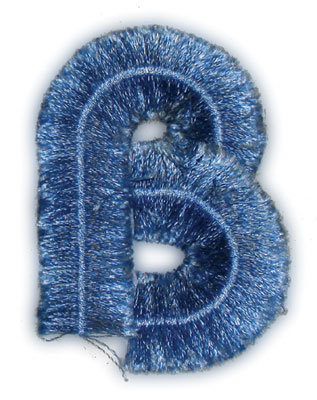 "Embroidery Design: Fringe Block Letter B1.98"" x 2.78"""