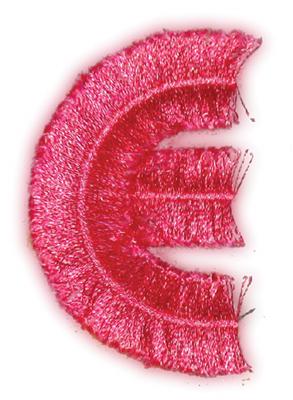"Embroidery Design: Fringe Block Letter E1.68"" x 2.80"""