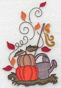 Embroidery Design: Pumpkins and watering can large 3.22w X 5.00h