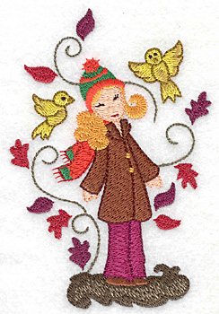 Embroidery Design: Girl with birds large 3.33w X 4.99h