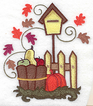 Embroidery Design: Harvest in basket large 4.29w X 4.97h