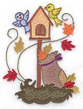 Embroidery Design: Birdhouse with leaf bag small 2.95w X 3.88h