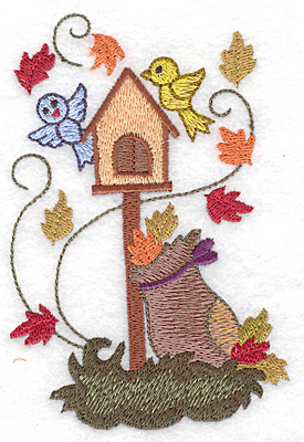 Embroidery Design: Birdhouse with leaf bag large 3.27w X 4.97h
