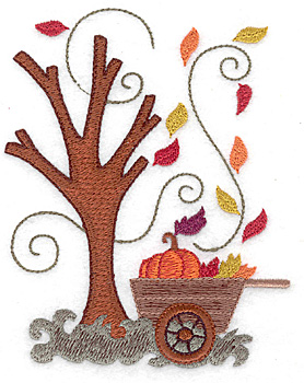 Embroidery Design: Cart with pumpkin and leaves large 4.02w X 4.93h