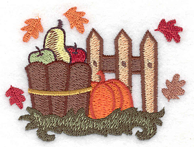 Embroidery Design: Basket with fall harvest 3.31w X 2.49h