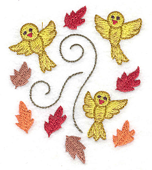 Embroidery Design: Birds and leaves 2.82w X 3.35h