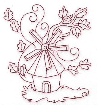 Embroidery Design: Windmill redwork 3.34w X 3.81h