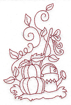 Embroidery Design: Pumpkins and watering can redwork 2.53w X 3.89h