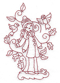 Embroidery Design: Girl with birds redwork 2.64w X 2.85h