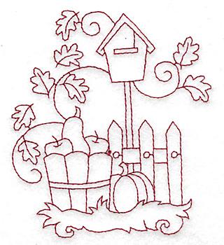 Embroidery Design: Harvest in basket redwork 3.37w X 3.83h