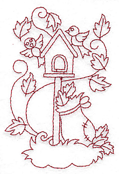 Embroidery Design: Birdhouse redwork 2.66w X 3.88h