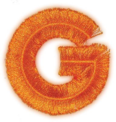 "Embroidery Design: Fringe Block Letter G2.78"" x 2.87"""