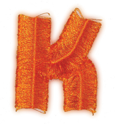 "Embroidery Design: Fringe Block Letter K2.03"" x 2.37"""