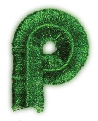 "Embroidery Design: Fringe Block Letter P1.98"" x 2.57"""