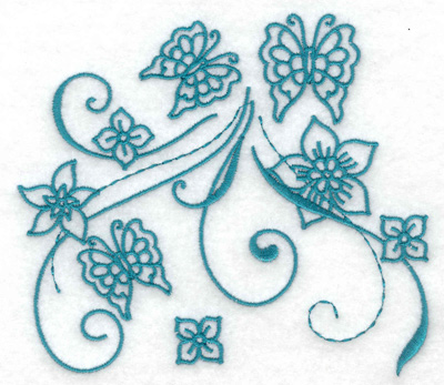 Embroidery Design: Butterfly trio large 4.97w X 4.38h