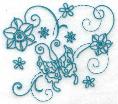 Embroidery Design: Butterfly and flowers 1 large 4.97w X 4.42h