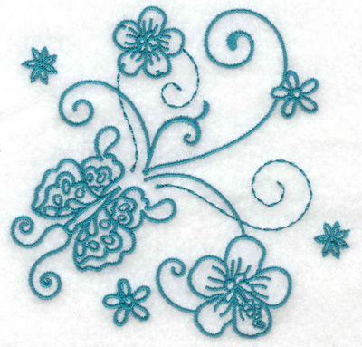 Embroidery Design: Butterfly and flowers 3 small 3.85w X 3.75h