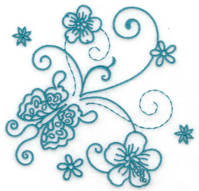 Embroidery Design: Butterfly and flowers 3 large 4.93w X 4.79h