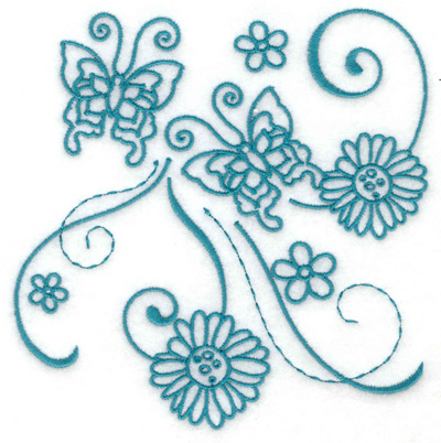 Embroidery Design: Butterfly duo with flowers large 4.80w X 4.95h
