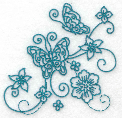 Embroidery Design: Butterflies and flowers small 3.87w X 3.81h
