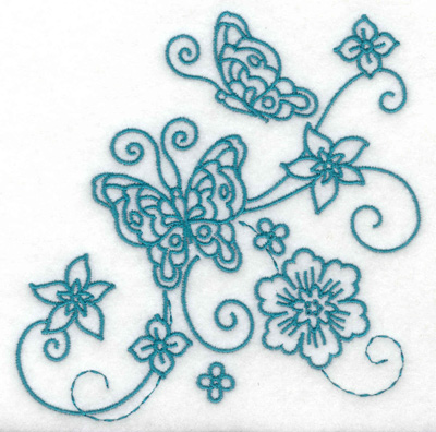 Embroidery Design: Butterflies and flowers large 4.95w X 4.88h