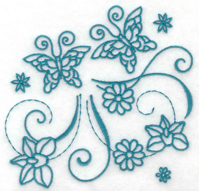 Embroidery Design: Butterflies and flowers 7 large 4.96w X 4.74h