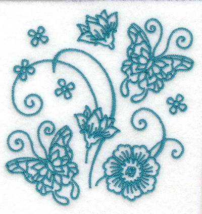 Embroidery Design: Butterflies with flowers and lillies 3.62w X 3.74h