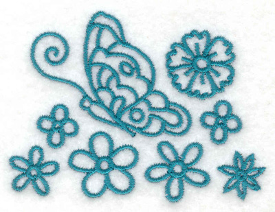 Embroidery Design: Side view butterfly and flowers 3.01w X 2.27h