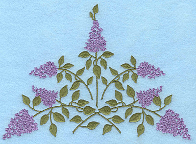 """Embroidery Design: Lilac blooms B 6.95""""w X 4.99""""h"""