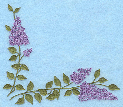 """Embroidery Design: Lilac blooms corner 5.78""""w X 5.00""""h"""