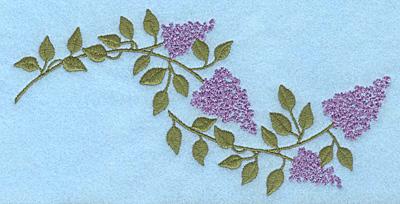 "Embroidery Design: Lilac blooms E 7.00""w X 3.43""h"