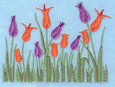 "Embroidery Design: Tulip garden A 4.98""w X 3.73""h"