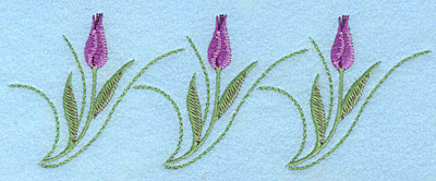"""Embroidery Design: Tulip Trio mauve 7.00""""w X 2.55""""h"""