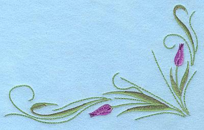 "Embroidery Design: Tulips mauve B 7.00""w X 4.49""h"