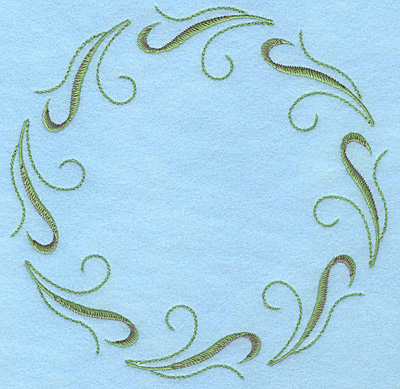"Embroidery Design: Tulip leaves circle 7.00""w X 7.00""h"