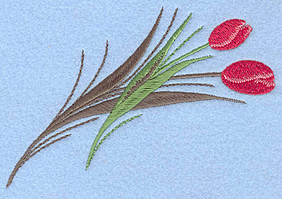 "Embroidery Design: Tulips rose colored A 4.95""w X 3.72""h"