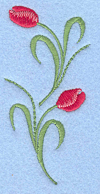 "Embroidery Design: Tulips rose colored double 1.78""w X 3.72""h"