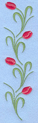 "Embroidery Design: Tulips rose colored four 1.78""w X 7.00""h"