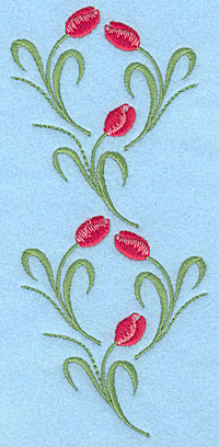 "Embroidery Design: Tulips rose colored six 3.03""w X 7.00""h"