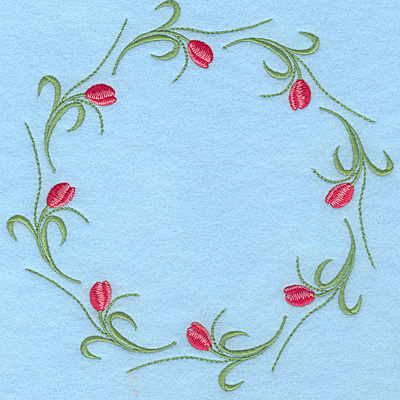 "Embroidery Design: Tulip circle A 7.50""w X 7.50""h"