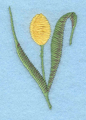 "Embroidery Design: Tulip single yellow small 1.54""w X 2.29""h"