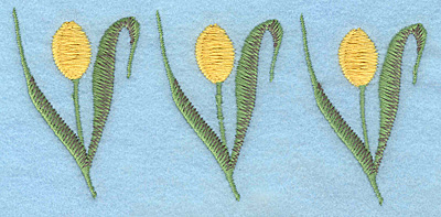 "Embroidery Design: Tulip trio yellow 5.00""w X 2.29""h"