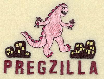 Embroidery Design: Pregzilla small 3.88w X 2.91h