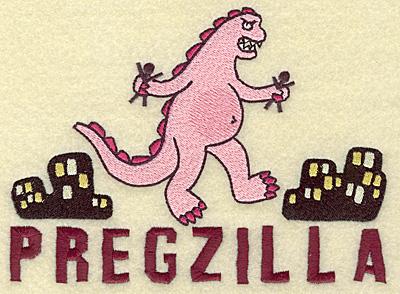 Embroidery Design: Pregzilla large 6.89w X 4.99h