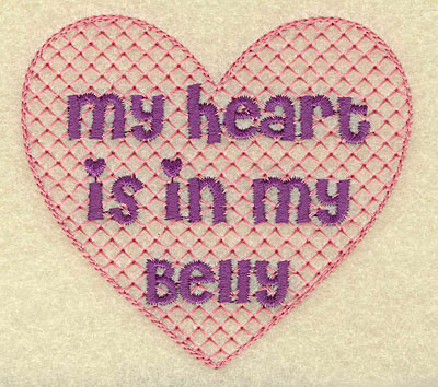 Embroidery Design: Heart in belly small 3.55w X 3.22h